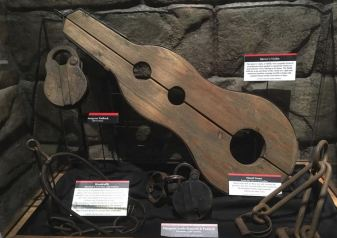 """A """"witch's fiddle"""" and other instruments of torture and incarceration."""
